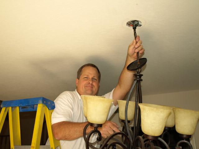 camarillo lighting electrical contractor hanging chandelier